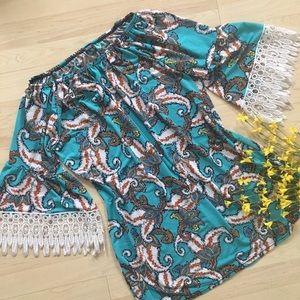 🎁Off Shoulder Midi WinWin Dress Blue Lace S-M